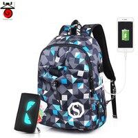 OZUKO Oxford Men Backpacks 2017 New Design USB Charging Travel Mochila Laptop Backpacks Teenagers Women Men