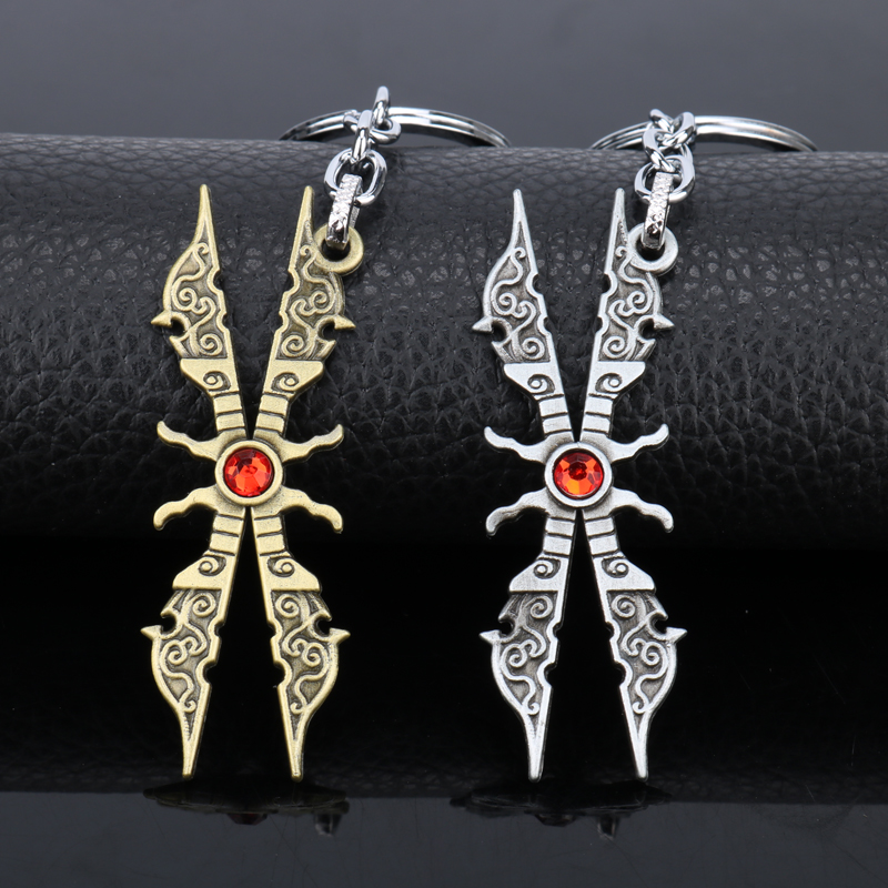 League Legend Weapon Model Key Chains for Man LOL Game Jewelry Key Ring Trinkets