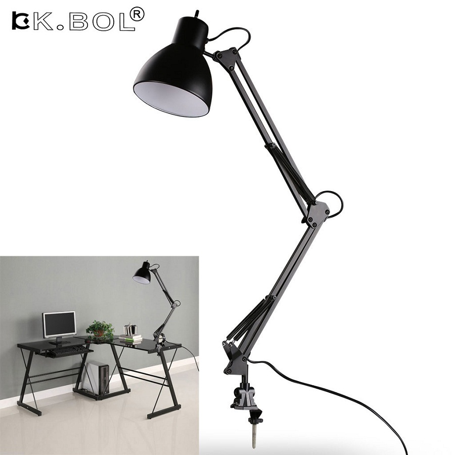 Flexible Swing Arm Clamp Mount Desk Lamp,Black Table Light Reading Lamp for Home/ Office/ Studio/Study,110V-240V
