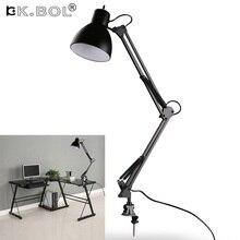 Качели гибкие установка зажима рукава настольная лампа, черный настольные светильники Настольная лампа для дома/офиса/Studio/исследование, 110 В-240 В