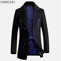 Luxury Black Cashmere Coat Men 2018 Winter New Men's Long Wool Trench Coats Single Breasted Slim Fit Pea Coat Male Overcoat XXXL