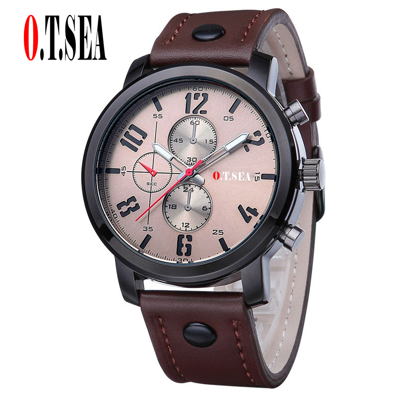 Hot Sales O.T.SEA Brand Soft Leather Watches Men Military Sports Quartz Wristwatches Relogio Masculino 8192