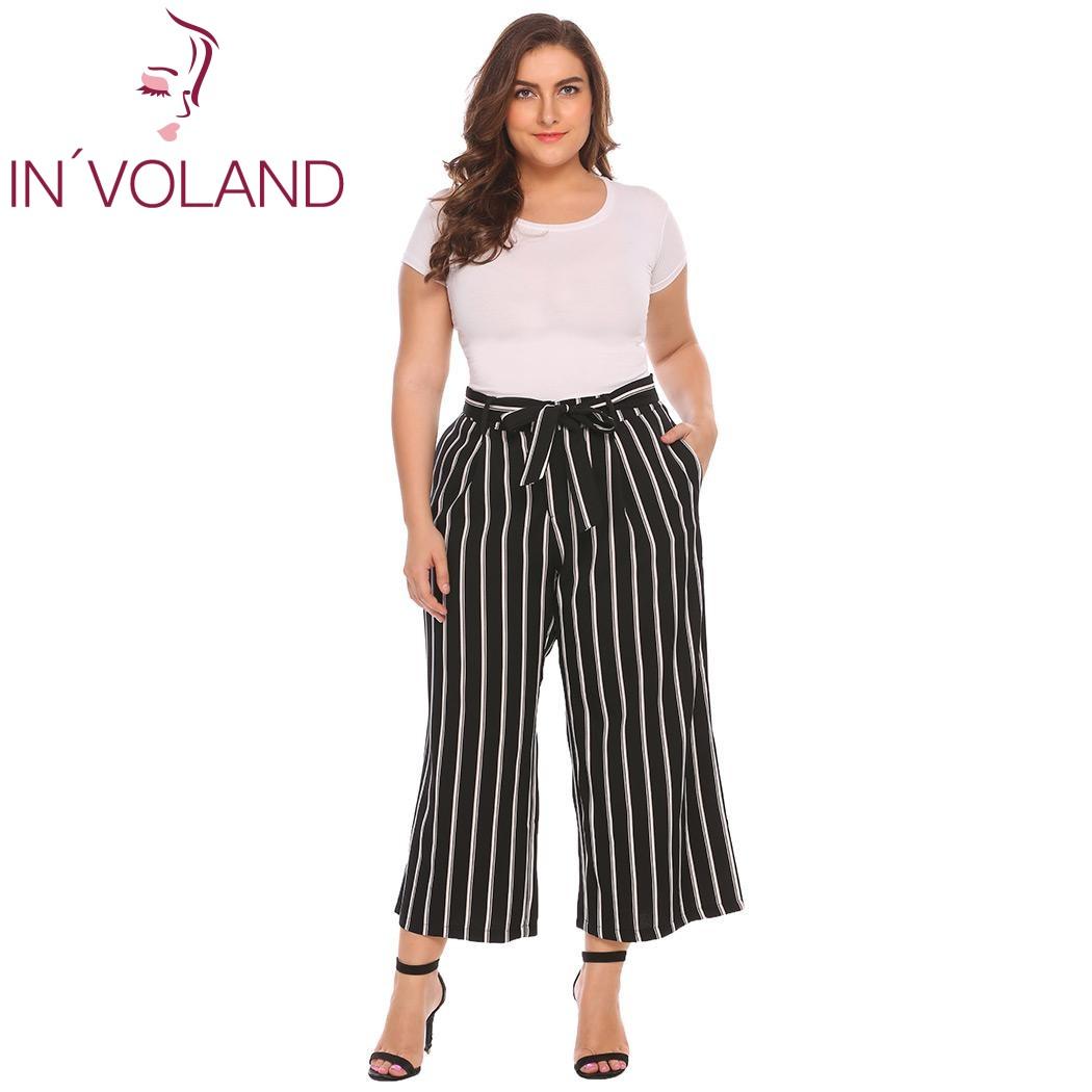 IN'VOLAND Large Size Women Wide Leg   Pant   XL-4XL Casual Oversized Trousers High Waist Belted Striped Solid   Pants     Capris   Plus Size
