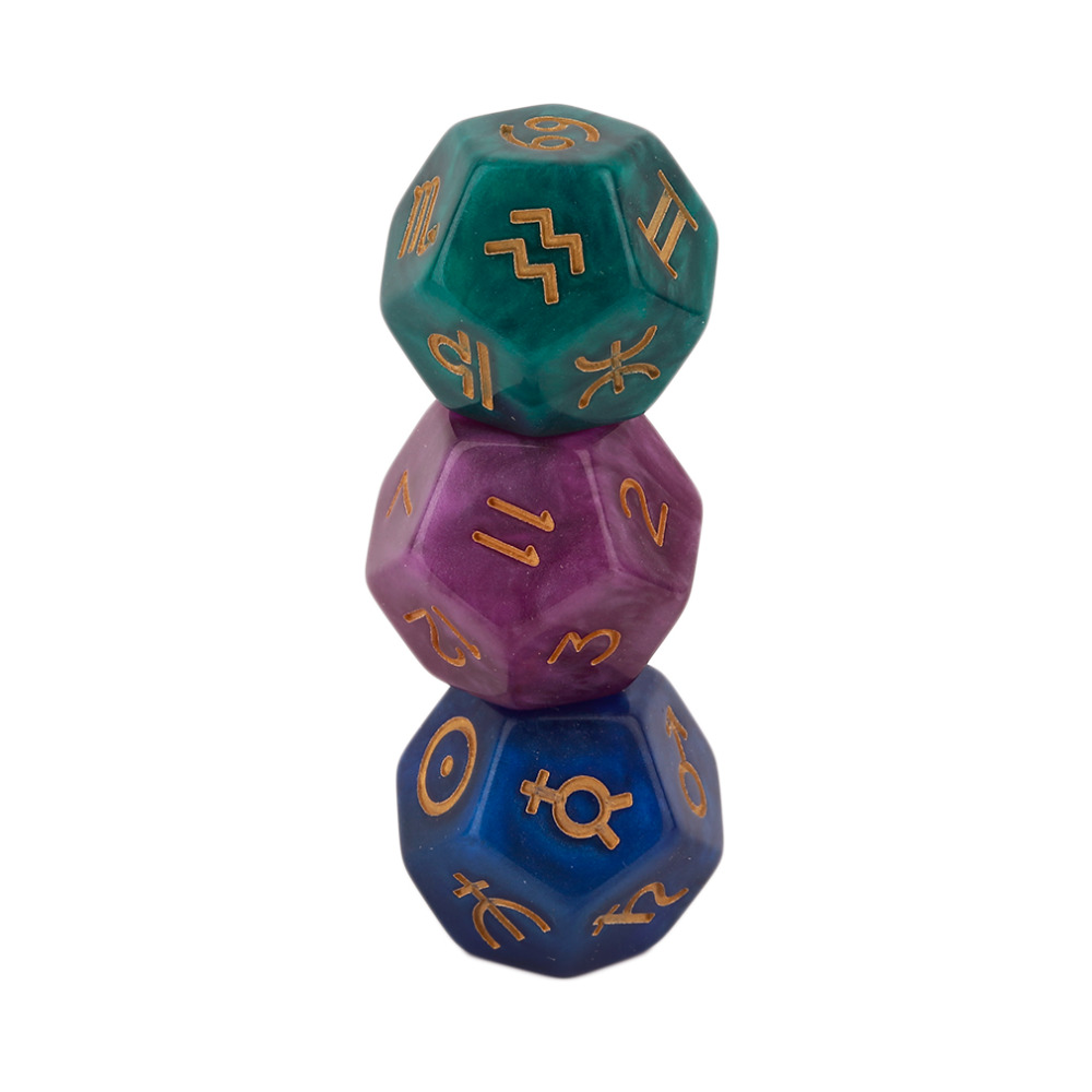3 pcs 9 Polyhedral Dice Astrological Creative Dice Set Multi Faceted Acrylic Dice for EZ Constellation Games in Dice from Sports Entertainment