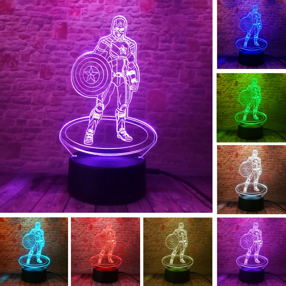 New Creative Marvel Avengers Civil War Captain America 3D Illusion Night Light Colorful LED Table Lamp Boys Xmas New Year Gifts marvel s the avengers super hero creative 3d hulk night light acrylic 7 colorful gradient led lamp desk table light boy kid gift