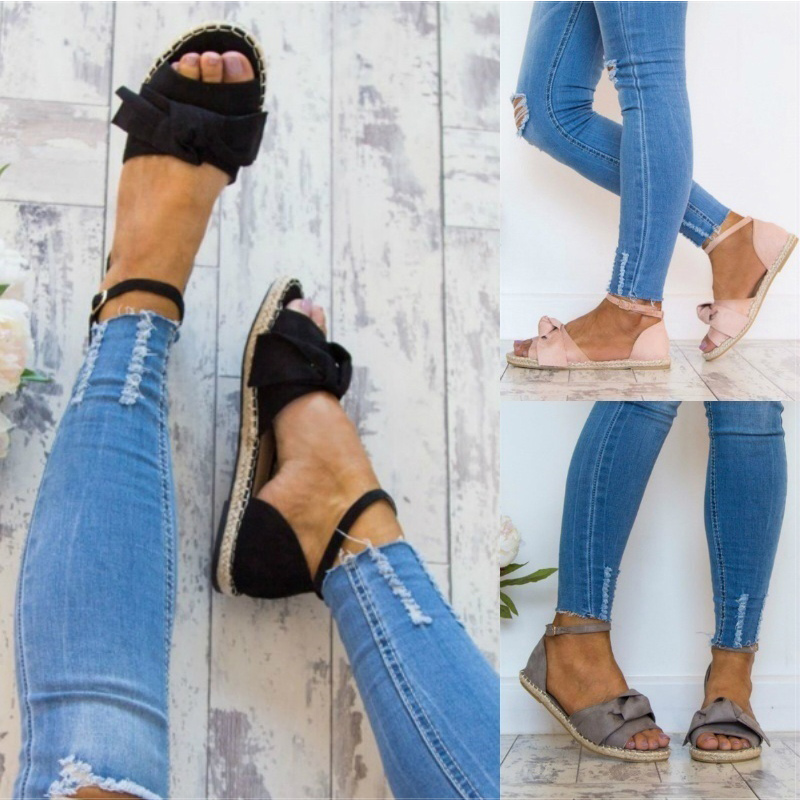 Womens Sandals Plus Size 35-44 Flats Sandals For 2018 Summer Shoes Woman Peep Toe Casual Shoes Low Heels Sandalias Mujer Black