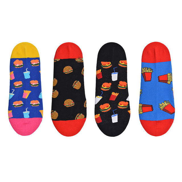 New Arrival Ankle Socks Men Art Abstraction Creative Food Hamburger French Fries Pattern Socks Casual Funny Boat Socks 1