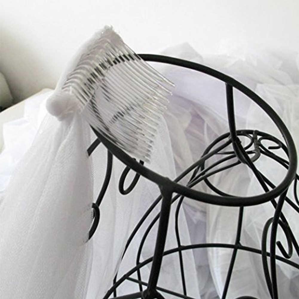 Einfache und Elegent Hochzeit Schleier Braut Tüll Schleier mit Kamm und Zwei Schicht Spitze Band-Rand Weiß 2019 Neue Ankunft zubehör
