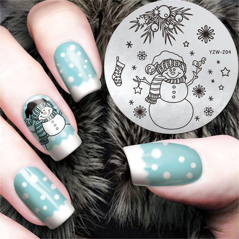 Beauty Lovely Snowman Chrismas Pattern Stamp Stencil Stainless Steel Nail DIY Template Decorations #YZW-Z04
