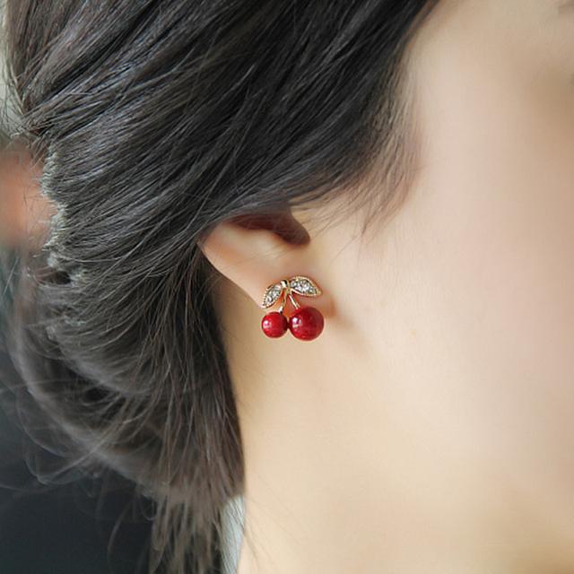 1 Pair Women Girl New 2016 Fashion Popular Charming Cute Rhinestone Red Cherry Ear Stud Earrings Gift