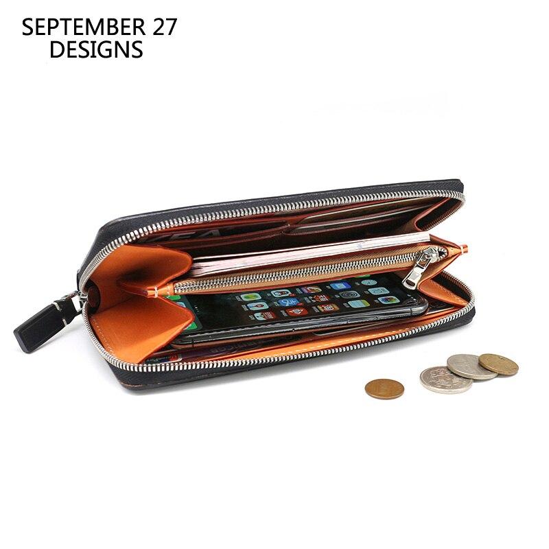Long Wallet Men Genuine Leather Luxury Business Male Clutch Phone Wallets Zipper Coin Purse 100 Cowhide