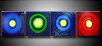 Blue 4 Piece Pictures Handpainted Colorful Circles Oil Painting Blue Modern Home Wall Art Acrylic Abstract Geometric Paintings
