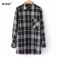 BLSQR Women Casual Plaid Pleated Loose Long Shirt Pocket Long Sleeve Oversized Blouse Female Vintage Brand