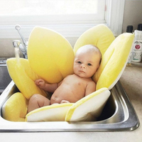 Newborn Portable Foldable Bath Tub Soft Seat Play Sunflower Cushion Mat Antiskid Blooming Bathing Bed/Chair Baby Shower Nets Bag