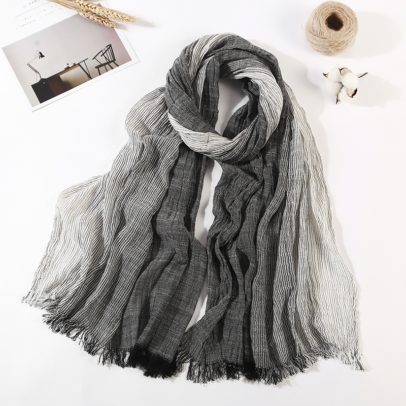 Men's Scarf Winter Shawls Wrinkled Bufandas Cotton Linen Fashion Plaid Brand Cachecol