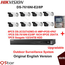 Hikvision Original English Outdoor Surveillance System DS-2CD2T42WD-I5 4MP IP CCTV Camera POE+6MP Recording NVR DS-7616NI-E2/8P
