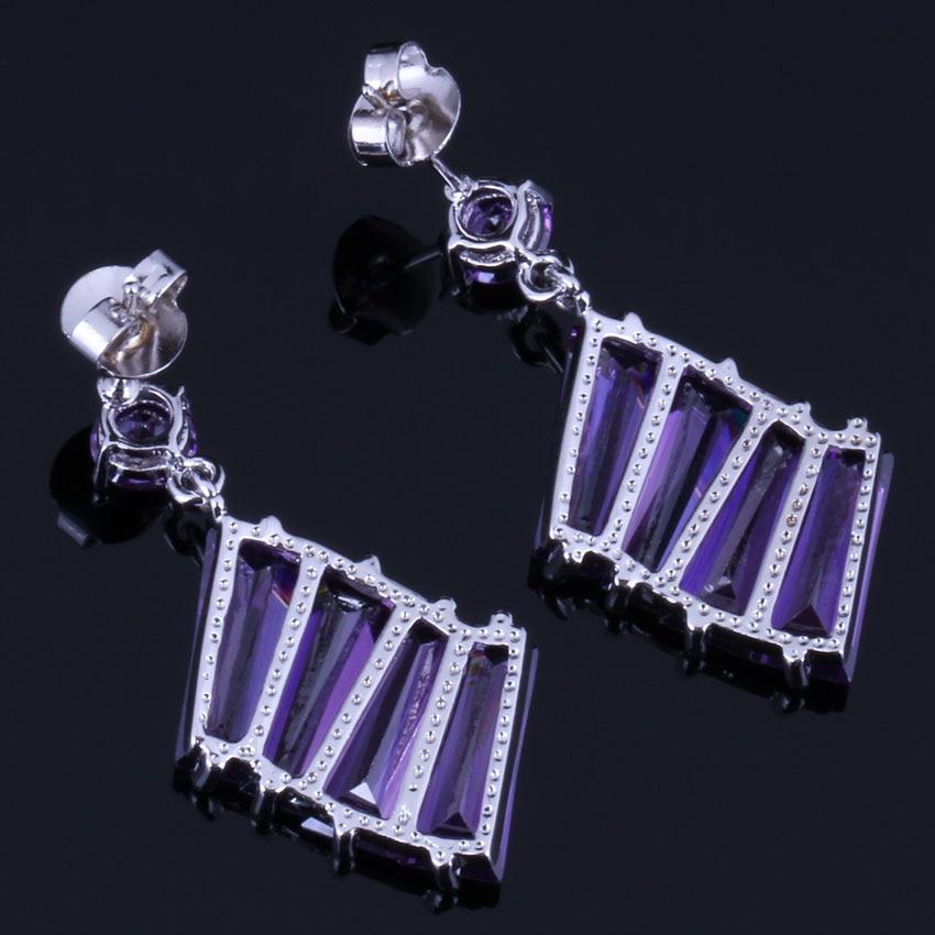 Admirable Purple Cubic Zirconia 925 Sterling Silver Drop Dangle Earrings For Women V0703 in Drop Earrings from Jewelry Accessories