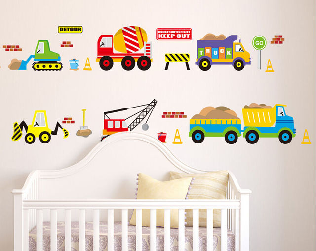 Transport Cars Truck Digger Boys Educational Wall Stickers Wall - Educational wall decals