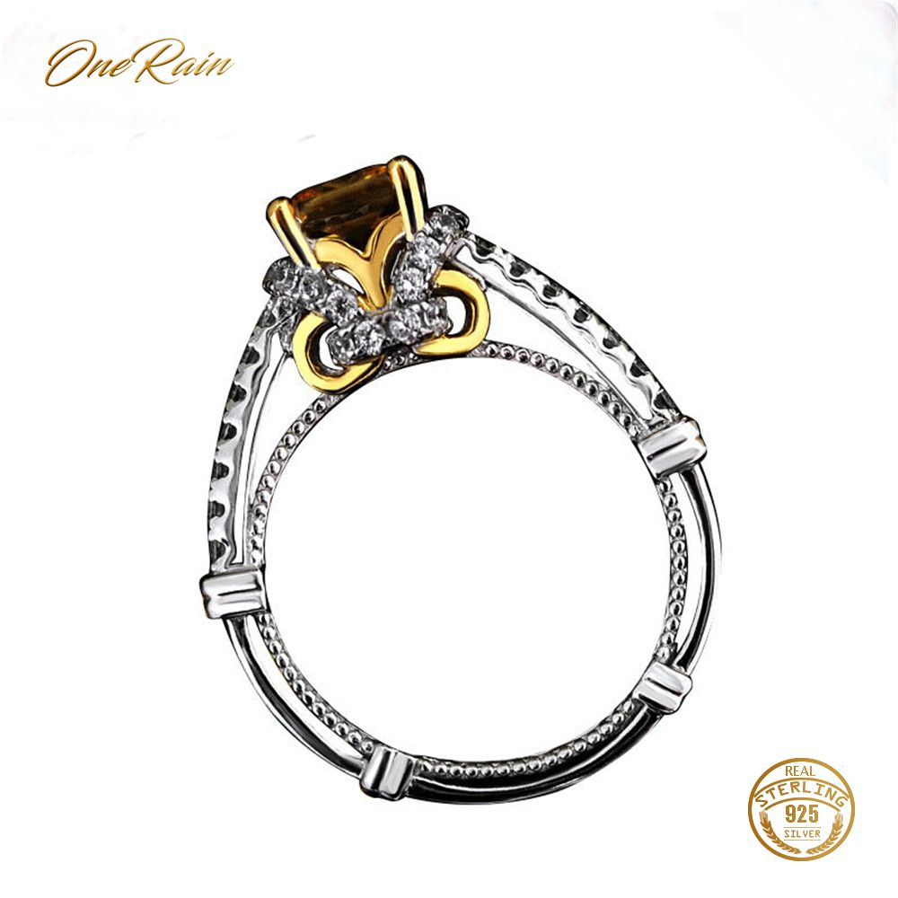 OneRain Luxury 100% 925 Sterling Silver Citrine Wedding Engagement Cocktail Party Crown Ring For Women Jewelry WholesaleOneRain Luxury 100% 925 Sterling Silver Citrine Wedding Engagement Cocktail Party Crown Ring For Women Jewelry Wholesale