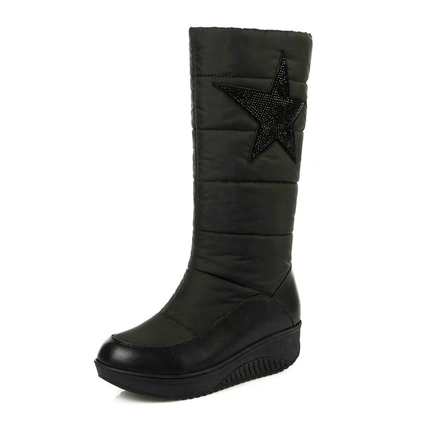 2018 Women Boots Warm Down Short Plush Slip on Casual Shoes Black Mid-calf Boots Wedges Med Heel Ladies Boots Size 34-43 double buckle cross straps mid calf boots
