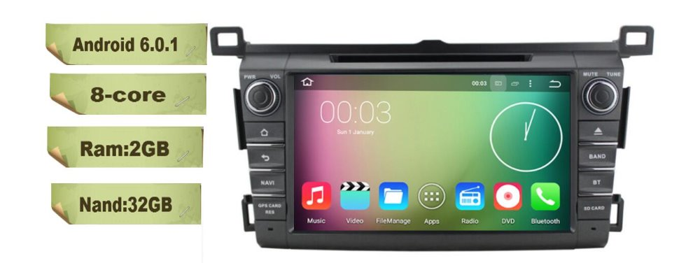 8-Core 8 inch Android 6.0 Car Dvd Gps Navi Audio for Toyota RAV4 2013-2016 HD1024*600 1080P 2GB 32GB nand suppor steering wheel