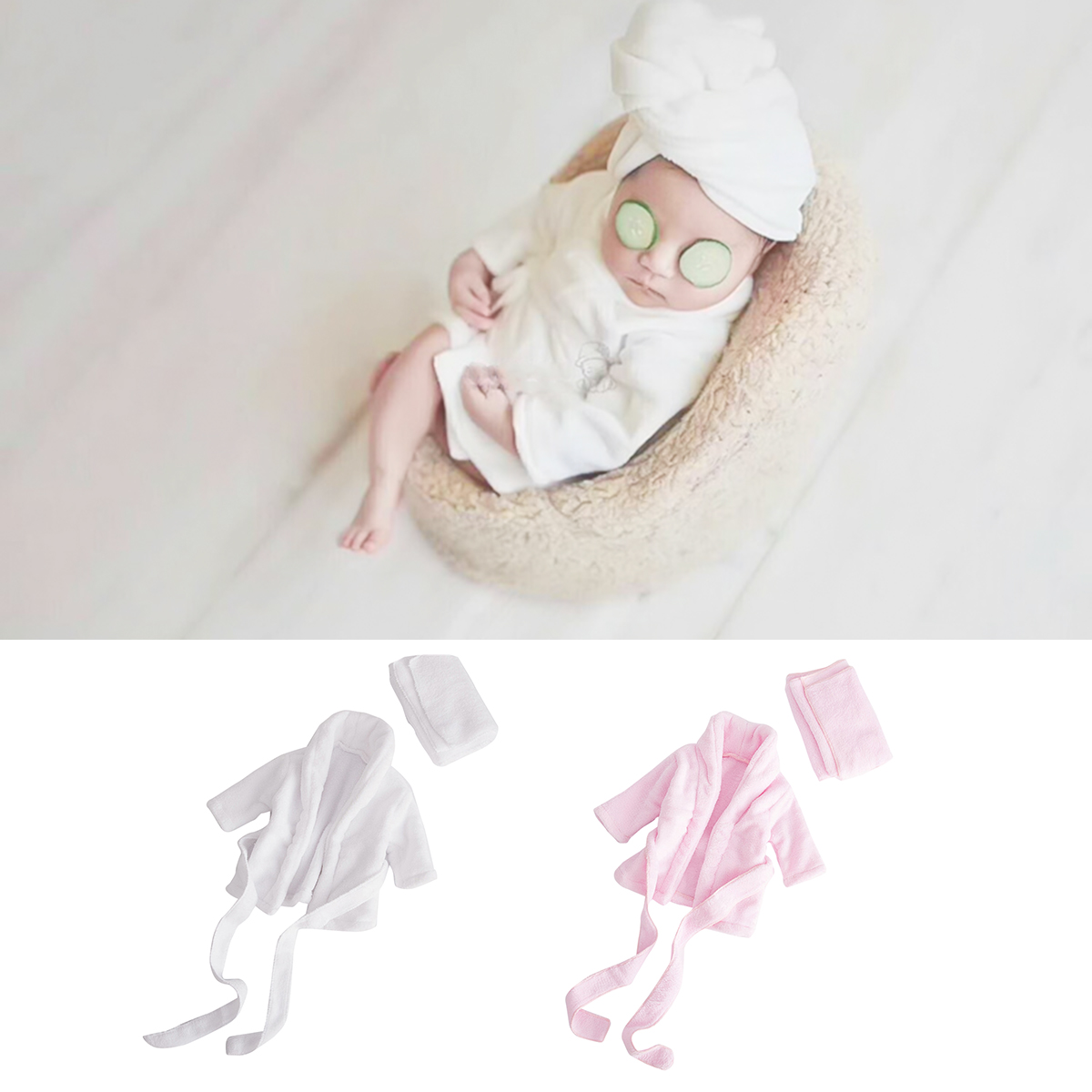 2019 Soft Flannel Bathrobes Newborn Photography Props Costumes Baby Clothes 2pcs Set Baby Photo Accessories Baby Boy Girl Outfit