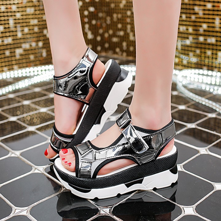 Women Sandals 2018 Summer New Fashion Platform Sandals Wedges Thick Bottom Casual Women Shoes Comfortable White Silver Sandals gktinoo 2018 summer gladiator sandals women rivet wedges fashion women shoes casual comfortable platform female sandal