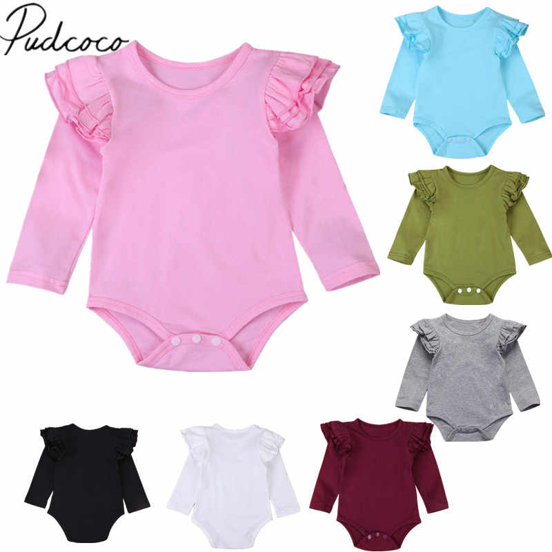2018 Brand New Infant Toddler Newborn Baby Girl Boy Cotton Bodysuit Ruffled Long Sleeve Outfits Solid Jumpsuit Sunsuit Wholesale