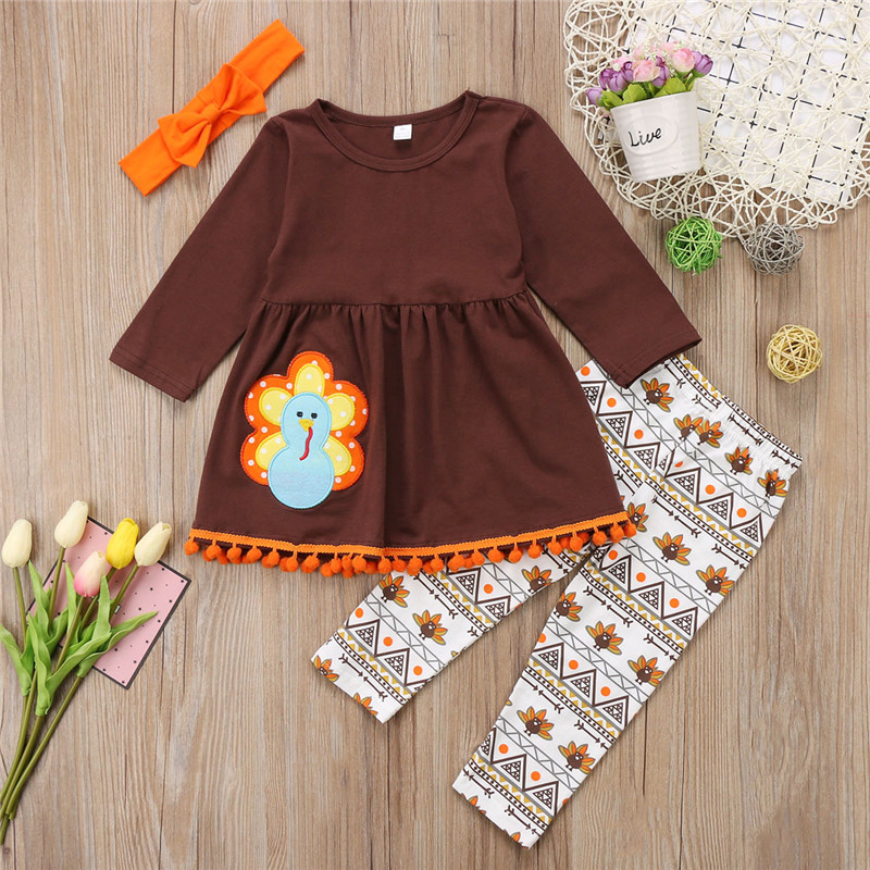 2018 New Arrivals Baby Girls Boutique Outfits Thanksgiving Turkey Ruffle T shirt Top Flower Pants Suits Baby Girls Clothes 2 6T in Clothing Sets from Mother Kids