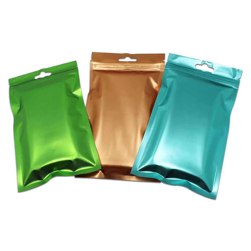 Image 2 - 300Pcs/ Lot Clear Plastic Pocket Matte Colorful Aluminum Foil Bag  Ziplock Package Bags Jewelry Craft Gifts Mylar Pouch Hang HoleGift  Bags