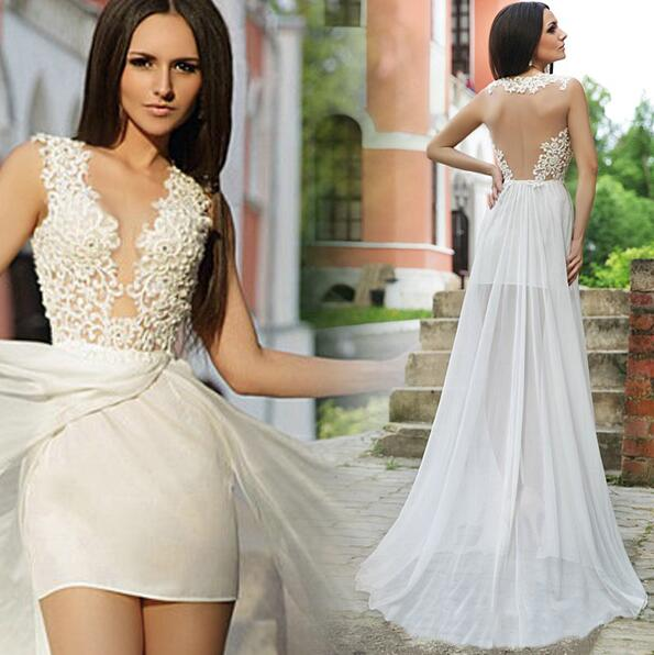 2016 new vestido de noiva robe de mariage detachable train for Short wedding dress with removable train