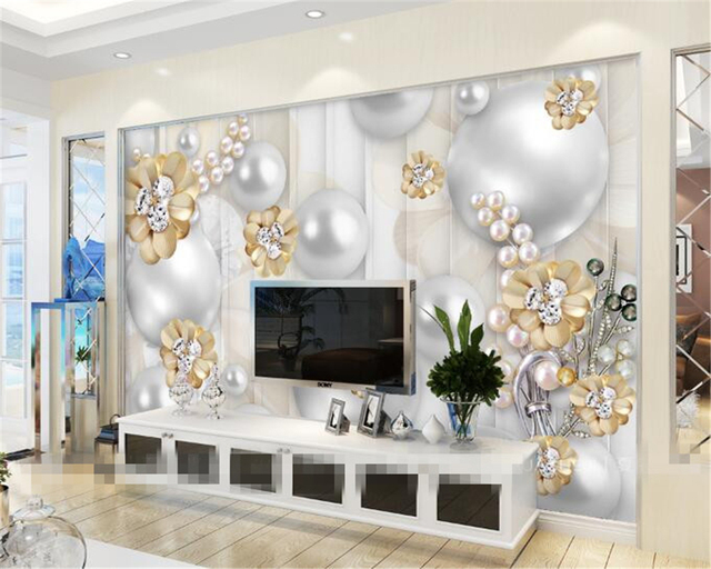 Beibehang Custom Wallpapers 3D Luxury Pearl Flowers Background Wallpaper  Living Room Bedroom Murals Wallpaper For Walls