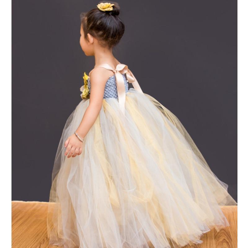 Boutique Gold Flowers Girl Princess Dress Long Girls Dresses For