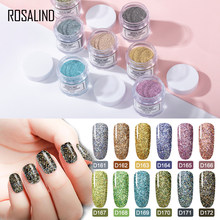 ROSALIND ผงเล็บ Art Polish Gradient Shining Chrome Pigment Holographic Glitter เล็บ Flakes Sequins Dipping Powder ชุด(China)