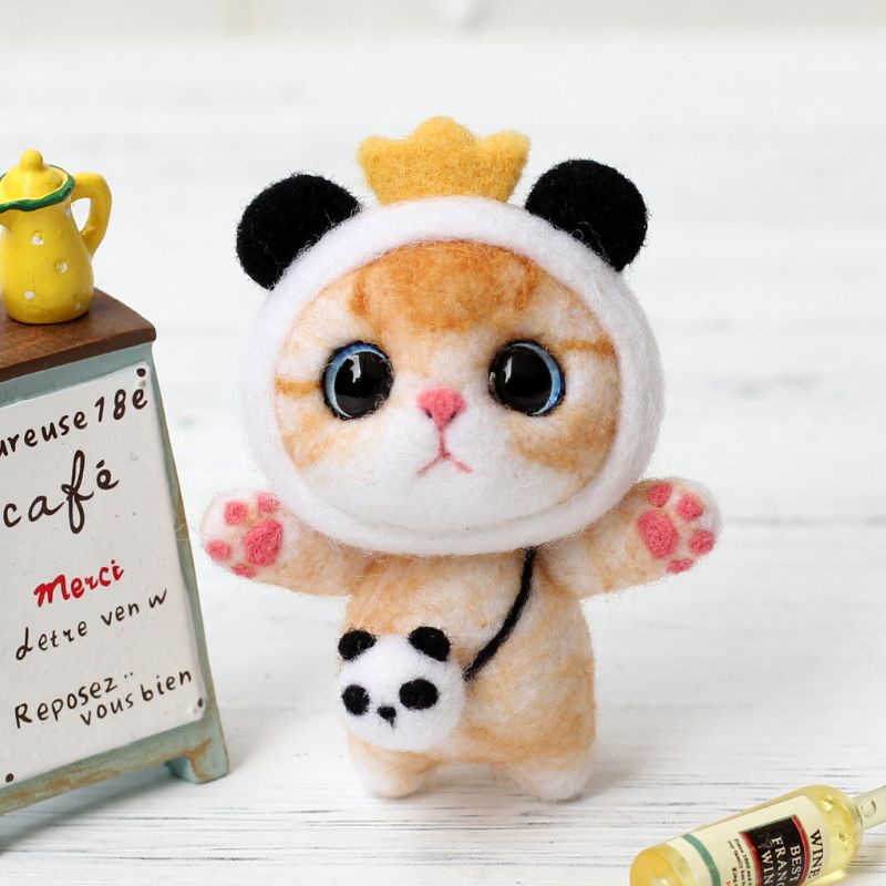 Cat Doll With Panda Wool Felt Craft DIY Non Finished Poked Set Handcraft Kit For Needle Material Bag Pack