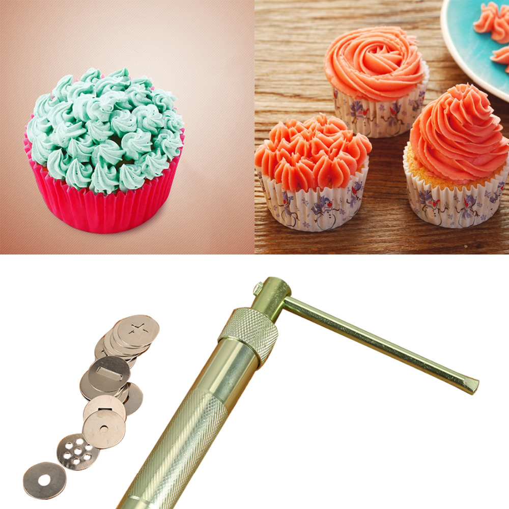 New Practical Stainless Steel Sugar Paste Extruder Craft Gun Tips Craft Fondant Cake Sculpture Polymer Clay Tools Random Color
