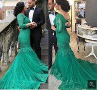 2017 gorgeous lace appliques Long Mermaid prom Dresses beaded green formal 3/4 sleeve real picture prom gowns in discount