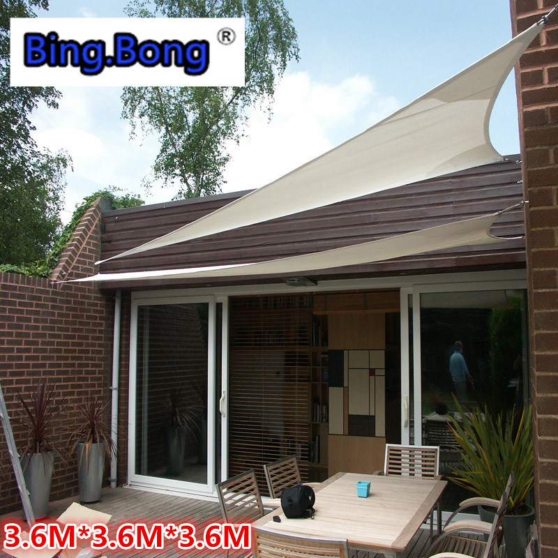 Outdoor Sun Shading Sail Waterproof Cloth PU Polyester Cloth Square Awning  Canopy Quality 3.6*3.6