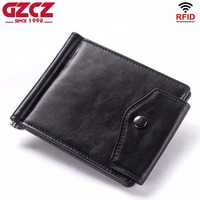 GZCZ 2018 New Men'S Genuine Leather Money Clips High Quality Wallets Men Small Cash Clips And Card wallet Purse Clamp For Money