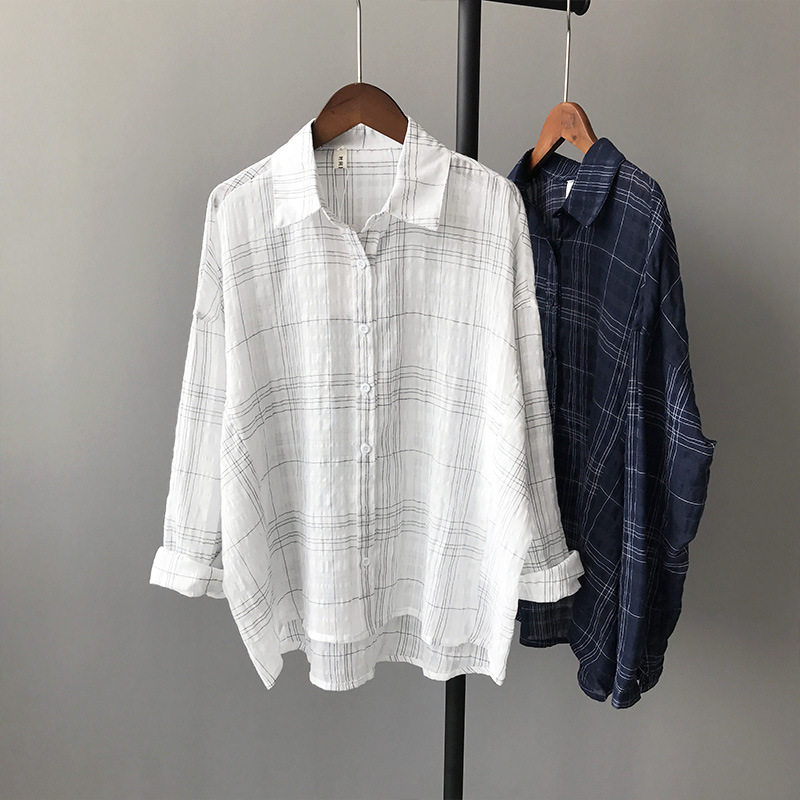 Fashion Women Linen Lattice Shirts Single Breasted Plaid Cotton Shirt Wild Casual Streetwear Shirt Women Plus Size Blouse 5563
