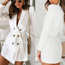 2018 Autumn New High Fashion Woman Classic Double Breasted Trench Coat Above Keen Windbreaker Outerwear Four size(China)