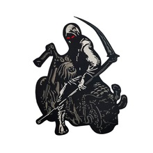 Reaper Patches Skull Death Biker Motorcycle Back Patch Free Rider Jacket Badge Embroidered Large Huge Stickers for Clothing
