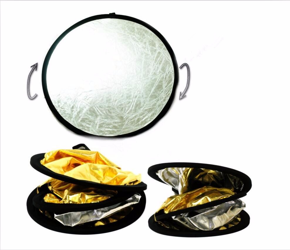 """CY 24""""/60cm Factory direct sale Handhold Multi Collapsible Portable Disc Light Reflector for Photography 2in1 Gold and Silver"""