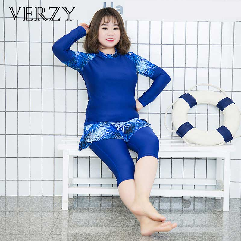 VERZY women 2018 new one pieces plus swimwear long sleeves fifth pants with skirts slim quick dry rash guards black royal blue