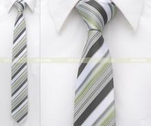 Olive White Black Stripes 100% Woven Silk 1200 Stitches 2.8