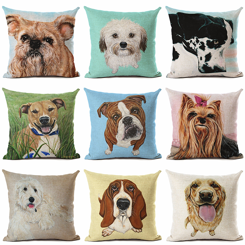 Poodle Dog Animal Printed Cotton Linen Cushion Pillowcase Decorative Pillows Almofadas Cojines Use For Home Sofa Car Office