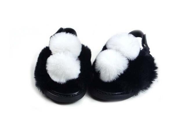 Cute White Rabbit hair Newborn Baby Girls 0-18M Baby Shoes Infant Toddler Solid Soft Crib Shoes