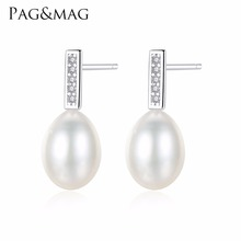 PAG&MAG 925 Silver Girl Simple Studs Earrings Fine Jewelry 7-8mm Natural Pearl Earrings For Women Boucles D'oreilles Femmes