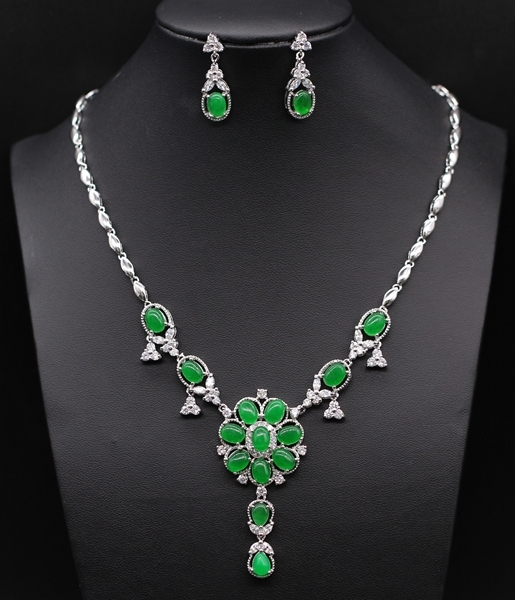 Luxury  Style JINYAO Jewelry Platinum Plated Malaysian jade&Crystal Round Necklace Earrings Set Bridal Jewelry Sets
