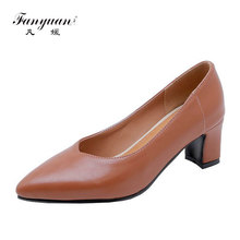 fanyuan solid color PU classic woman pumps shallow single shoes square med high heels office women zapatos de mujer